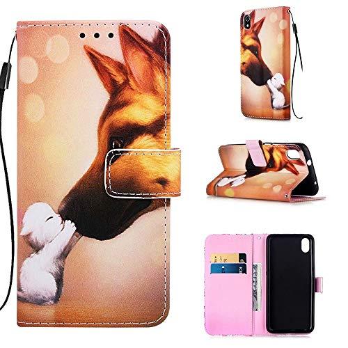 TTNAO Hülle Kompatibel mit Xiaomi Redmi 7A PU Leder Kartenschlitzen Portemonnaie Tasche Flipcase Klappbare Magnetverschluss Handyhülle Stoßfest Case Cover(Hund und Katze)