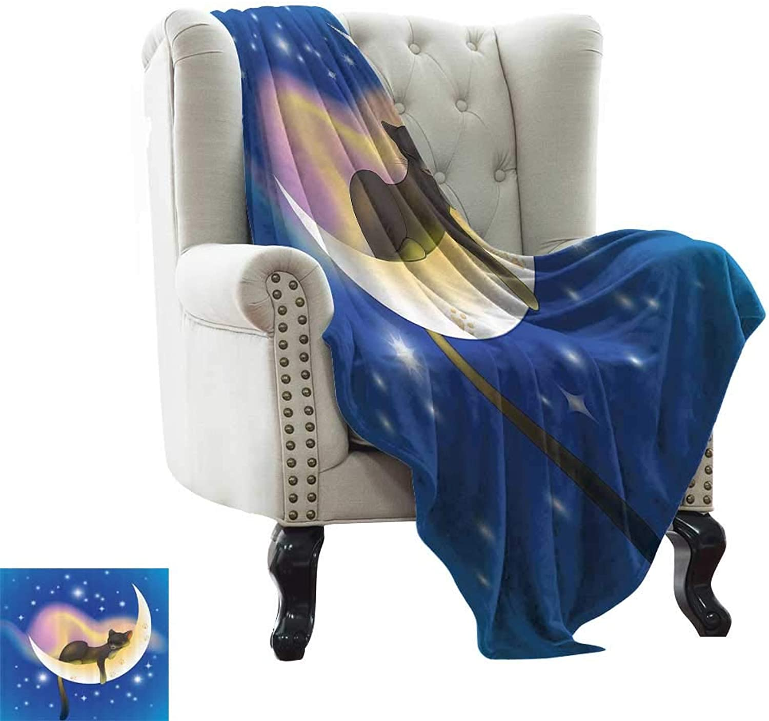 RenteriaDecor Cat,Warm Blanket Cat Sleeping on Crescent Moon Stars Night Sweet Dreams Themed Kids Nursery Design 70 x50  Throw Rug Sofa Bedding bluee Yellow