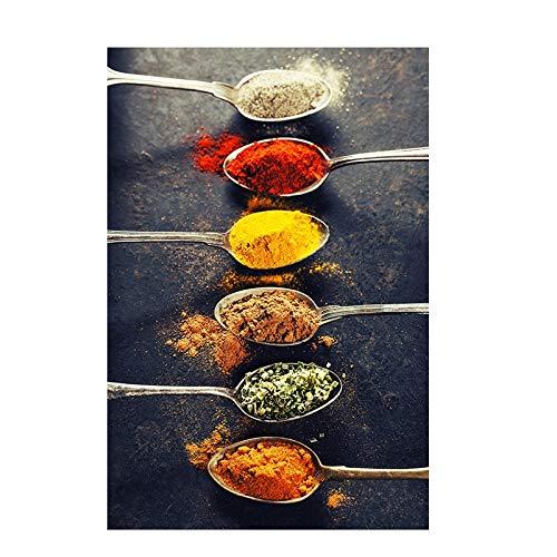 Granos Especias Pimientos Cuchara Lienzo escandinavo Pintura Cuadros Carteles e impresiones Cocina Arte de la pared Comida Imagen Sala de estar 70x100cm sin marco