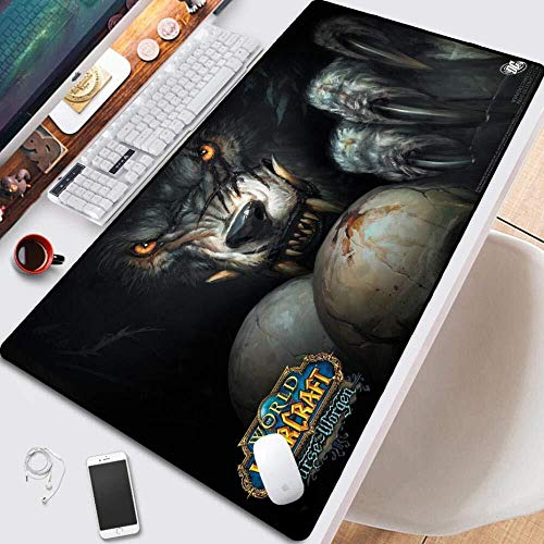 Gaming Mouse Pads World of Warcraft Wow Game Large Mouse Mat Keyboard Mat Cafe Mat Extended Mousepad for Computer Desktop PC Mouse Pad (Color : 1, Size : 9004003mm)