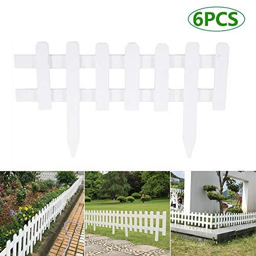 N/Y Paquete de 6 Vallas de Madera para piquetes de jardín, cercas de Bordes Paneles de Bordes de Jardines de jardín Postes Cercas de Piscina de Camas de Flores 25x14 '' (LxH)