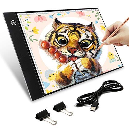 Elfeland Licht Pad A4 LED Leuchttisch Leuchtplatte Helligkeit Dimmbare Light Pad Ultradünne Tragbare Lichtkasten mit USB Kabel für Zeichnen Animation Malen Skizzierung Schablonieren Designen