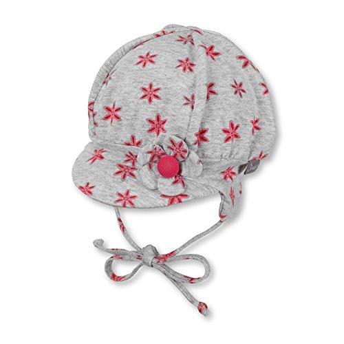 Sterntaler Ballonmütze für Mädchen mit Bindebändern und Blume-Motiv, Alter: 5-6 Monate, Größe: 43, Rot (Himbeer)