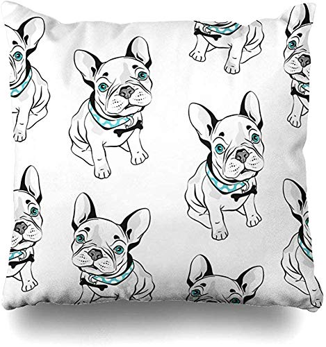 Throw Pillows Covers Cushion Case Gray Frenchie French Bulldog White Funny Dogs Blue Eyes Head Home Decor Pillowcase Square 16 x 16 Inch