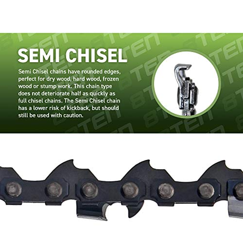 8TEN Chainsaw Chain 16 inch .050 .375 55 Drive Links for Stihl MS 170 180 91VXL055G 91PXL055G 3636 005 0055 3 Pack