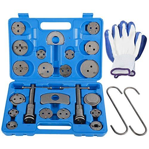 KUNTEC 26 Piece Disc Brake Caliper Tool Kit Front Rear Brake Piston Compression Tool Brake Pad Replacement Reset Wind Back Kit