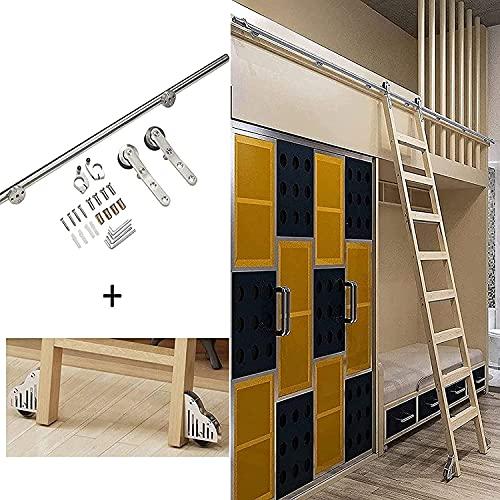 SEYE Kit de herrajes para Escalera de Biblioteca, de 3,3 a 20 pies, Kit de herrajes para Puertas corredizas, riel rodante (sin Escalera), Escalera rodante para el hogar/Interior/Loft