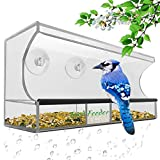 Bird Feeder, Window Bird House Crystal Clear Acrylic with Removable Tray, Drain Holes