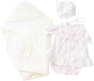 cremé de coco 4点セット アフガン ツーウェイオール ドレス 帽子 [股スナップ付け替え/2way] 新生児 赤ちゃん 日本製 50-70cm