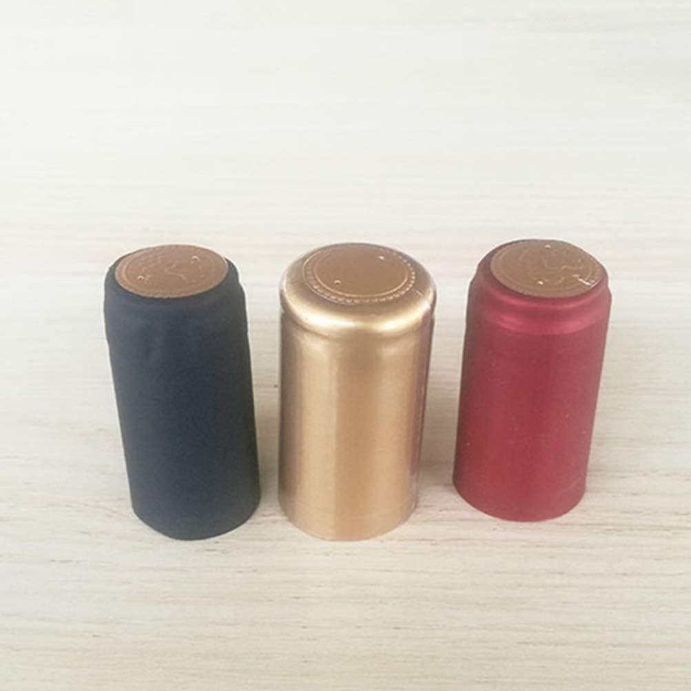 YARNOW 200 Unids Tapas Retr/áctiles de Vino Botella de Vino de Calor Sellos Retr/áctiles Botella de Vino Mangas Retr/áctiles Botella de Vino Corchos C/ápsulas Negro