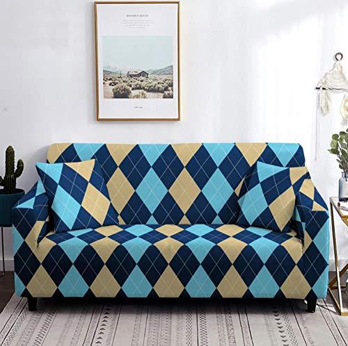 Funda de sofá de 3 Plazas Funda Elástica para Sofá Poliéster Suave Sofá Funda sofá Antideslizante Protector Cubierta de Muebles Elástica Patrón de Diamante Azul Funda de sofá