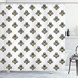 ABAKUHAUS Biene Duschvorhang, Grafisches Bienen-Punkt-Muster, mit 12 Ringe Set Wasserdicht Stielvoll Modern Farbfest & Schimmel Resistent, 175x220 cm, Mehrfarbig
