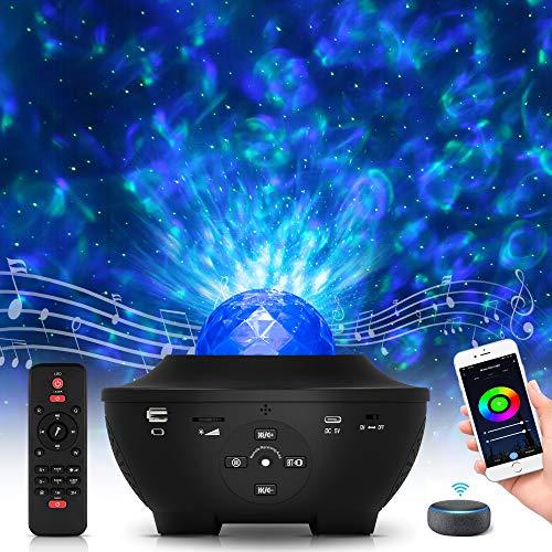 Wifi Smart Sternenhimmel Projektor, Galaxy Light Sternenlicht Projektor mit Voice Kontrolle, Bluetooth und Fernbedienung, LED Nachtlicht sternenhimmel Lampe mit Alexa Geschenke für Kinder Erwachsene