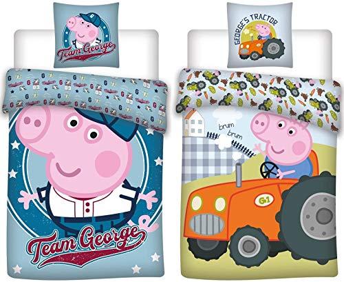 BrandMac ApS Peppa Wutz 2 x Baby-Bettwäsche-Set 4-teilig 100% Baumwolle Bettbezug 100x135 Kissenbezug 40x60 deutsche Standardgröße Jungen Peppa Pig George