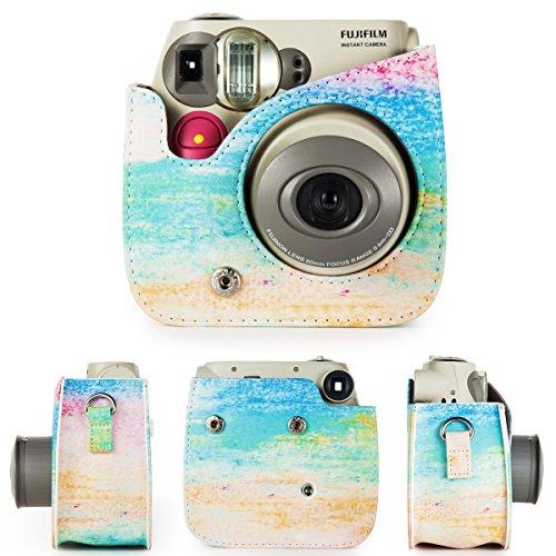 CAIUL Compatible Mini 7s Case Bundle with Album, Filters & Accessories for Fujifilm Instax Mini 7s and Polaroid PIC-300 (Rainbow Mist, 7 Items)