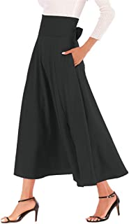 Women's Casual High-Waisted Pleated Maxi Skirt with Pockets,Solid Long Vintage Strappy Skirt 3 Colors