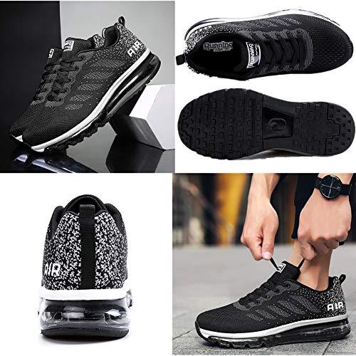 Air Zapatillas de Running para Hombre Mujer Zapatos para Correr y Asfalto Aire Libre y Deportes Calzado Unisexo Black White 44