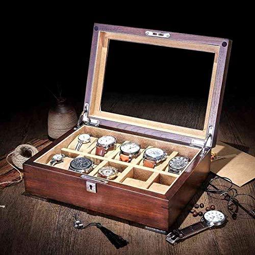 GYMEIJYG Caja De Almacenamiento De Reloj 10 Ranuras Caja De Reloj De Madera Caja De Reloj con Cerradura Caja De Almacenamiento De Exhibición De Joyería Caja De Reloj con Tapa De Cristal