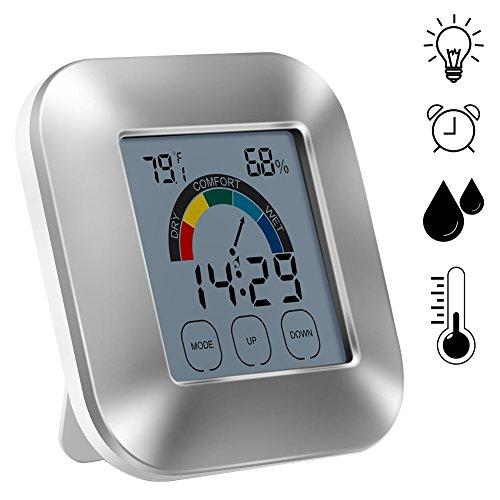 Cuitan - Termómetro digital con indicador de zona de confort y pantalla táctil con alarma, pantalla LCD, reloj con monitor de temperatura interior, funciona con pilas (pilas no incluidas)