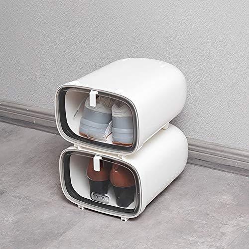 WACYDSD Juego de 2 Cajas de Almacenamiento para los Zapatos, Transparente Ahorro de Espacio Rígida hasta la Talla 48 Reutilizable, 33x25.5x17cm,Blanco