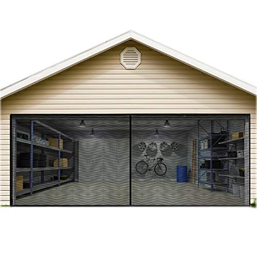 Garage Door Screen for 2 Car 16x7FT Garage Doors,Heavy Duty Door Screen Curtain for Garage Door,Hands Free Magnetic Screen Door