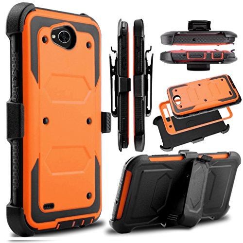 KooJoee Orange Armor Defender Case Compatible with LG Fiesta LTE/LG X Power 2 3/LG X Charge/K10 Power/LG LV7, Heavy Duty Shockproof Kickstand Belt Clip Holster Rugged Protection for LG X Power 3