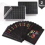 LotFancy Waterproof Plastic Playing Cards, Black - 2 Decks Cool Poker Cards in