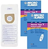 DVC Replacement Micro-Lined Paper Bags Style Y for Hoover Windtunnel and Tempo Upright Models | 2-Ply Filter Removes 99.7% of Particles and Allergens | 18 Bags
