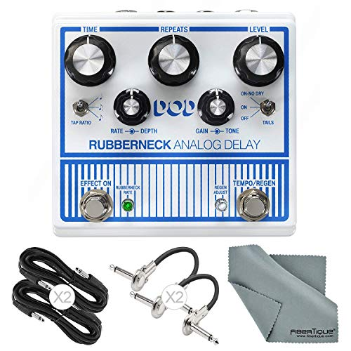 DOD Rubberneck Analog Delay Guitar Effects Pedal with Tap Tempo and Bundle