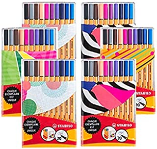Stabilo Point 88 Felt-Tip Pens in Case of 20 Fine Point Pens Assorted Colours with Individual Just Like You Design