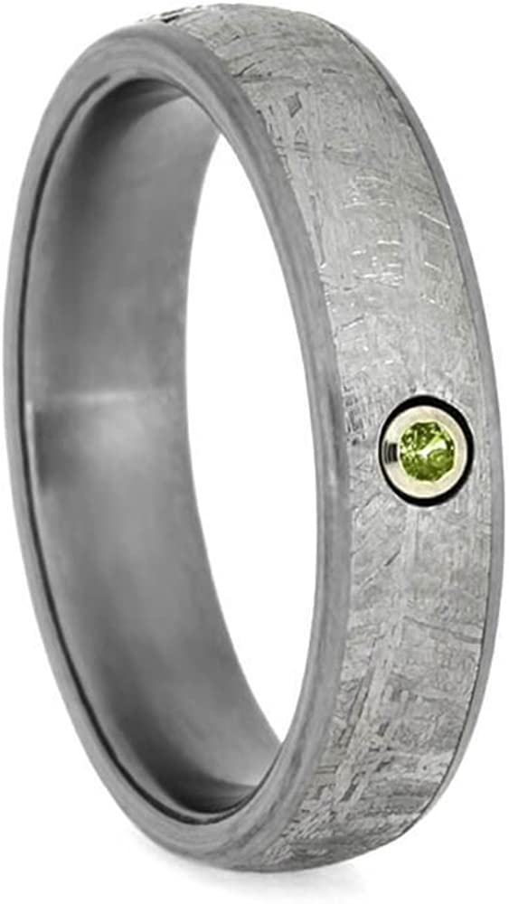 Peridot, Gibeon Meteorite 6mm Matte Titanium Comfort-Fit Wedding Ring