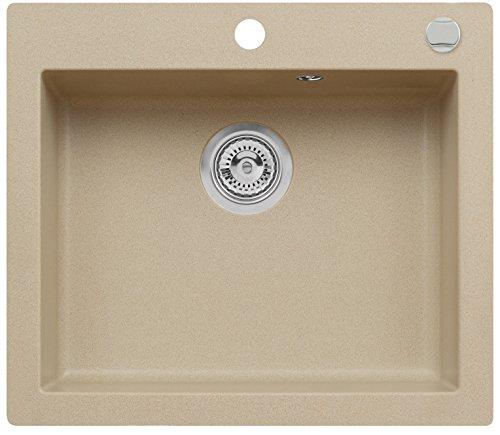 AXIS KITCHEN Mojito 60 Küchenspüle Farbe Axis Beige Material Axigranit 60er Unterschrank Spülbecken Siphon, Exzenterbedienung