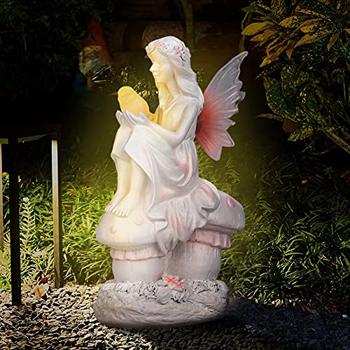 kaiwern Angel Garden Lights, Retro Resin Angel Statue Garden Flower Fairy Figures Praying Girl Solar Lamp, Solar Powered Fairy Angel with Wings Garden Light Decor