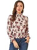 Allegra K Blusa de Lunares Florales con Dobladillo con Volantes en la Cintura para Mujer Rosa M