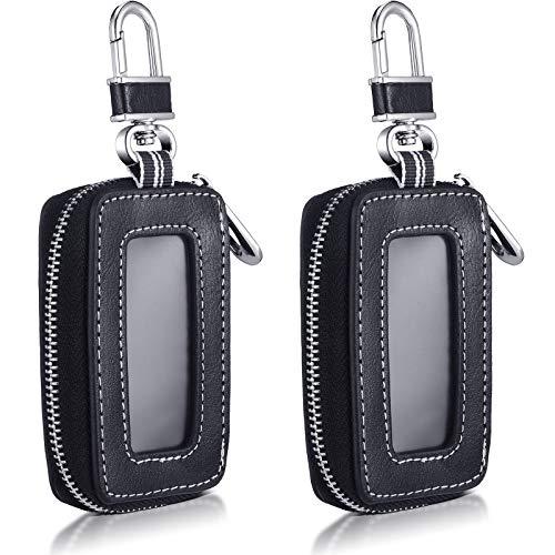2 Pieces Car Key Cases Car Key Fob Vehicle Smart Keychain Case Holder (Black)