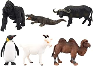 TOYANDONA Animal Figurines Jungle Camel Buffalo Crocodile Goat Gorilla Penguin Realistic Plastic Wild Zoo Animals for Kids...