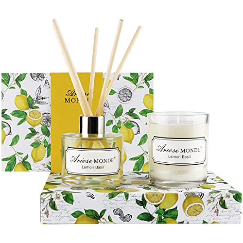 Reed Diffuser & Scented Candle Gift Set with Sticks for Home, Lemon Basil Scented Oil Diffuser Sticks, Fragrance Diffuser & Soy Wax Candles in Glass Jar,Natural Soy Candles Gifts for Women Funny