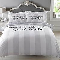 """Dreamscene–""""Sweet Dreams"""" funda de edredón juego de cama con funda de almohada, gris, Single"""