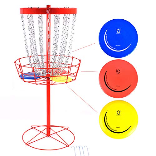 CROWN ME Disc Golf Basket Target Include 3 Discs, 24-Chain Portable Metal Golf Goals Baskets,Frisbee Golf Basket, Red
