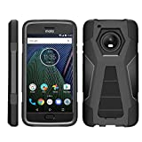 TurtleArmor | Compatible with Motorola Moto G5 Plus Case | Moto X (2017) [Dynamic Shell] Hybrid Dual Layer Hard Shell Kickstand Silicone Case - Black