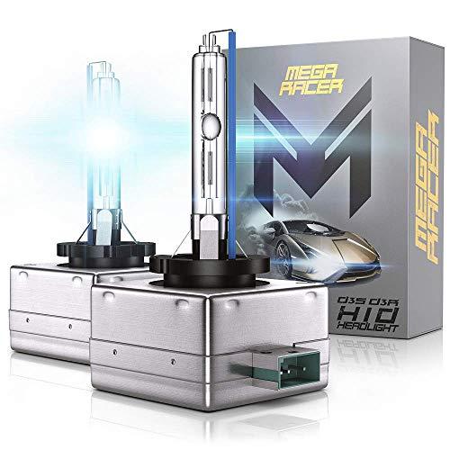 Mega Racer D3C/D3R/D3S HID Bulb Headlights for Low Beam High Beam 35W 10000K Dark Blue Xenon Headlights IP68 Waterproof, Pack of 2
