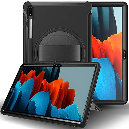 Funda para Galaxy Tab S7 Plus 12.4-Pulgada 2020 (SM-T970/T975/T976), Cubierta Protectora Completa a Prueba de Golpes de Tres Capa con 360° Rotativo Soporte,Black
