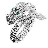 Hunpta - Anillo de aleación para hombre, diseño de dragón con diamantes de imitación para boda, aniversario, fiesta (plata)