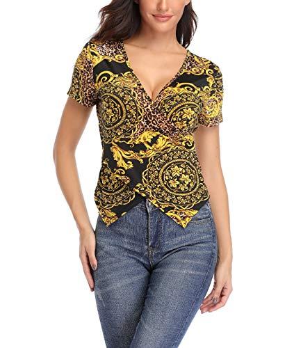 Dilgul Damska bluzka Cross Wrap z dekoltem w kształcie litery V, seksowna bluzka bez ramion, z nadrukiem, krój slim fit