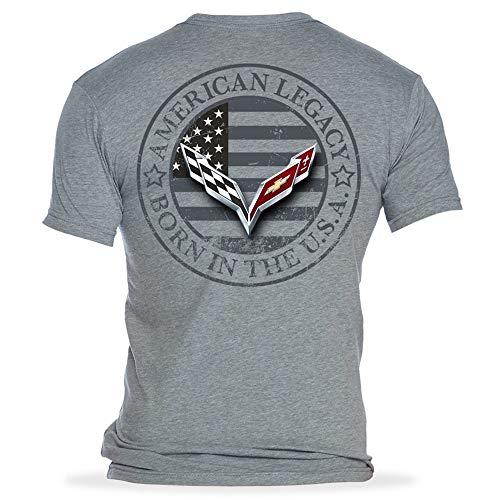 C7 Corvette Born in The USA American Legacy Men's T-Shirt/Heather Gray (XX-Large)