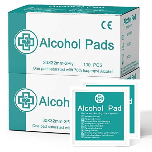 Janolia Alkohol Pad 100 Stück 2 Boxen, Einweg Einzeln verpackte Box, leicht zu tragen,