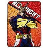 My Hero Academia Throw Blanket - Shoto, Izuku & All Might Soft Fleece Throw Blanket Lanyard and Sticker (All Might)