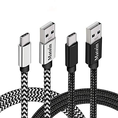 Câble USB C [2m Lot de 2] MATEIN Chargeur Type C Charge Rapide Nylon Tressé Long Cordon USB Type C Compatible avec Samsung Galaxy S20 S10 S9 S8 Note 20 10, Google Pixel 4 3XL et Plus, Noir & Blanc