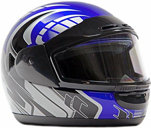 Typhoon Helmets Adult Snowmobile Helmet Mens Womens Full Face Dual Lens Anti Fog - Blue, Small