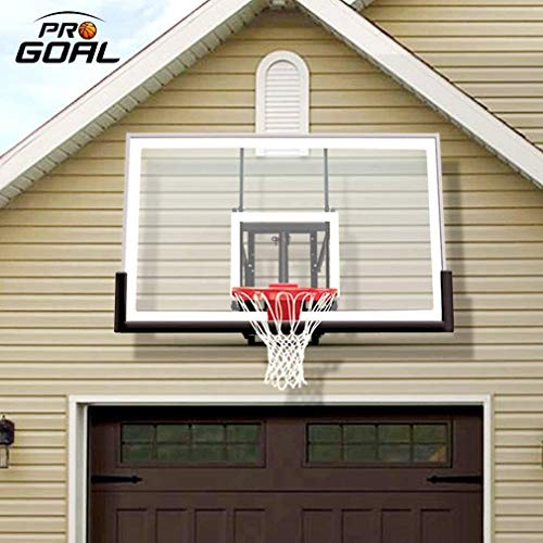 PROGOAL Basketball Hoop Garage Mounted Wall Adjustable-Height, with 60x36in Tempered Glass Backboard, Pro-Style Dual-Spring Breakaway Rim, Durable Bracket and Net